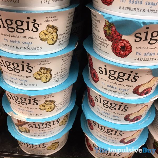 Siggi s No Added Sugar Strained Whole Milk Yogurt  Banana  Cinnamon and Raspberry  Apple