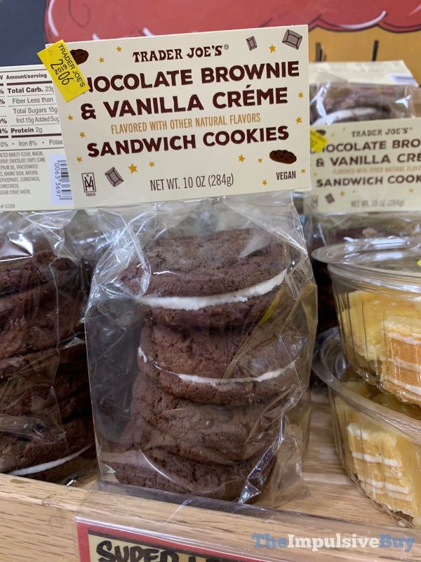 Trader Joe s Chocolate Brownie  Vanilla Creme Sandwich Cookies