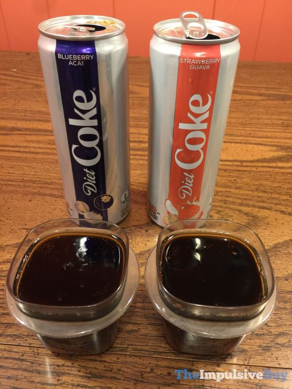 Diet Coke Blueberry Acai and Strawberry Guava Closup