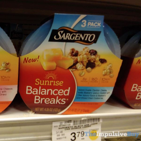 Sargento Sunrise Balanced Breaks Double Cheddar Cheese Vanilla Blueberry Quinoa Clusters with Other Natural Flavors  Blueberry Juice Enhanced Dried Cranberries