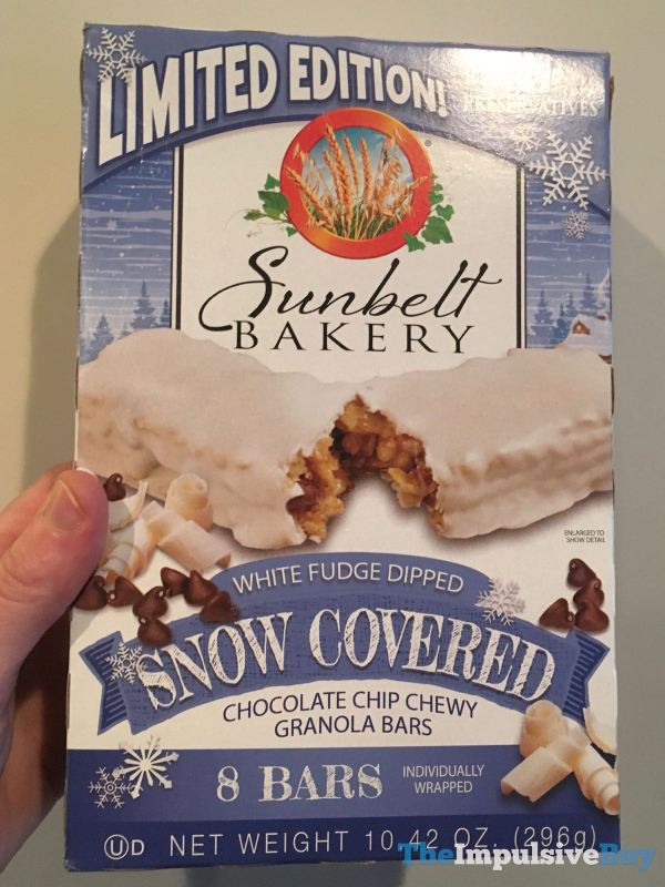 Sunbelt Bakery Limited Edition White Fudge Dipped Snow Covered Chocolate Chip Chewy Granola Bars