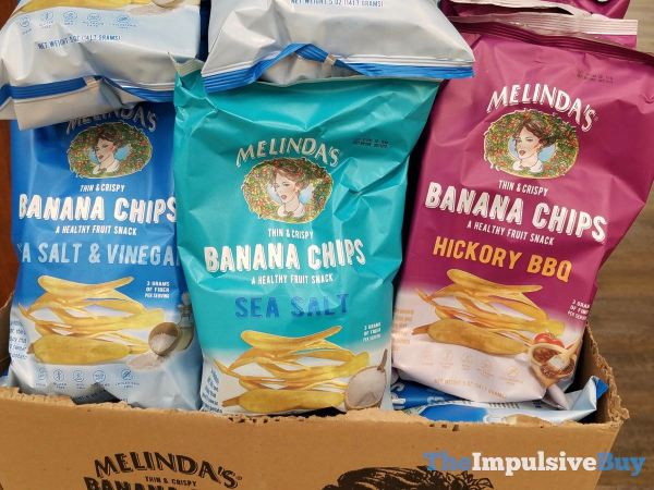 Melinda s Banana Chips Sea Salt  Vinegar Sea Salt and Hickory BBQ