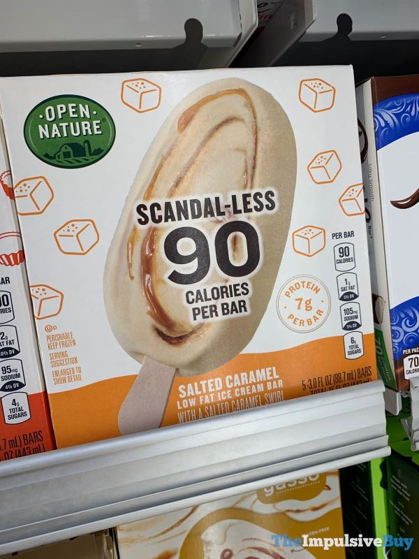 Safeway Open Nature Scandal less Salted Caramel Low Fat Ice Cream Bar