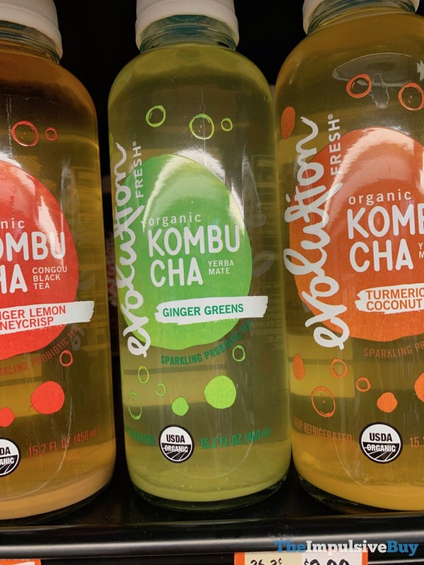 Evolution Fresh Ginger Greens Organic Kombucha Yerba Mate