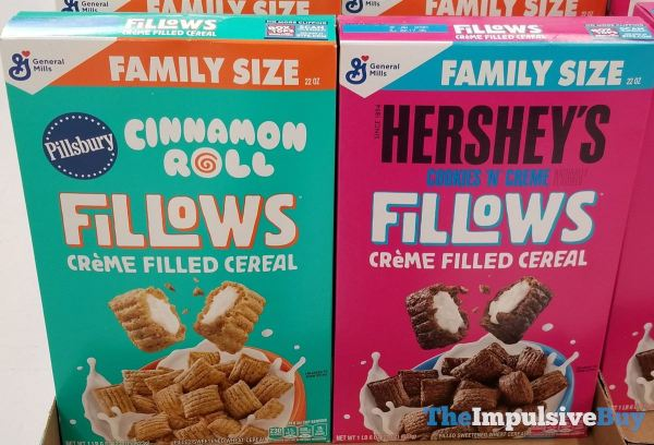 Fillows Creme Filled Cereal  Pillsbury Cinnamon Roll and Hershey s Cookies  n Creme