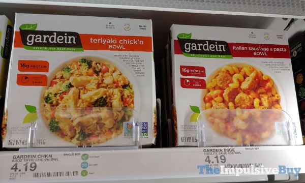 Gardein Teriyaki Chick n Bowl and Italian Saus age  Pasta Bowl