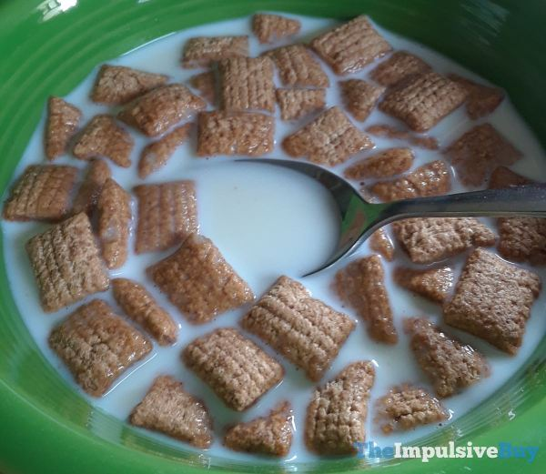 General Mills Fillows Pillsbury Cinnamon Roll Cereal Wading in Milk