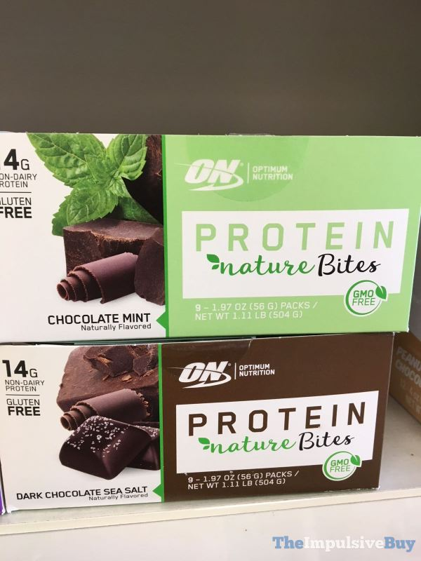 Optimum Nutrition Protein Nature Bites Chocolate Mint and Dark Chocolate Sea Salt