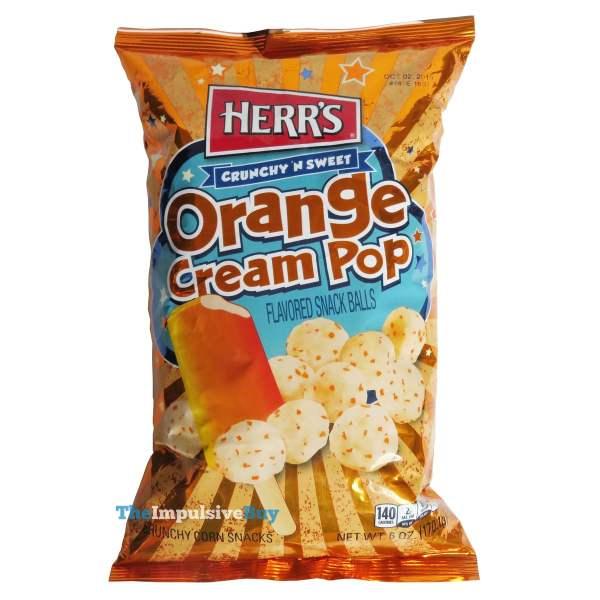 Herr s Crunchy  N Sweet Orange Cream Pop Snack Balls