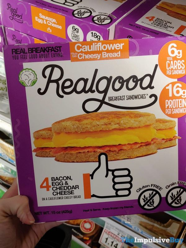 Realgood Bacon Egg  Cheddar Cheese Breakfast Sandwiches