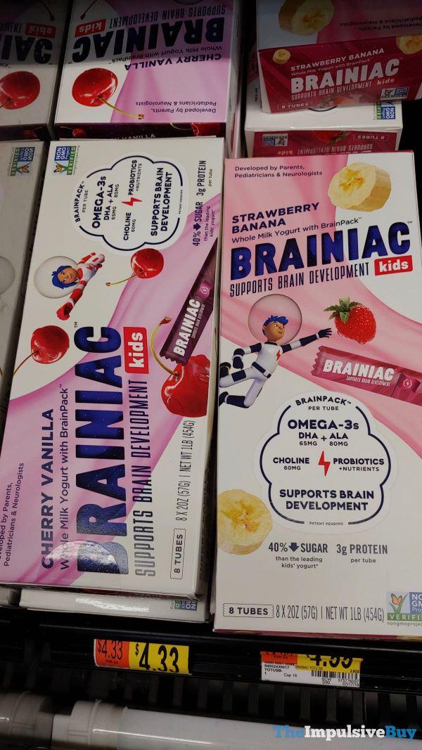 Brainiac Whole Milk Yogurt Drink  Cherry Vanilla and Strawberry Banana