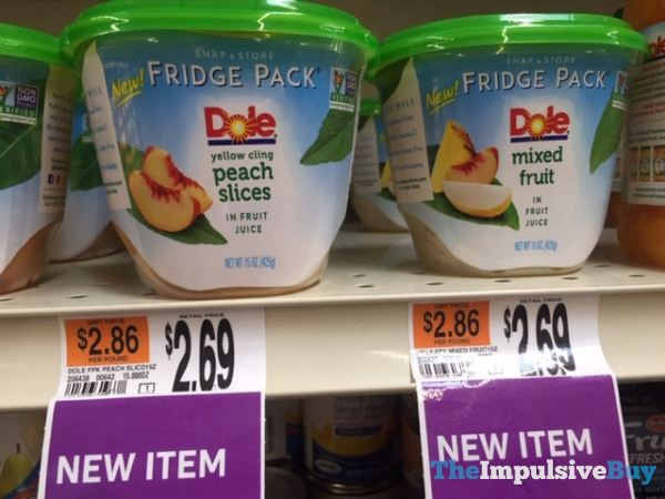 Dole Snap  Store Fridge Pack Peach Slices and Mixed Fruit