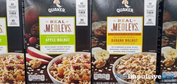 Quaker Real Medleys Apple Walnut and Super Grains Banana Walnut Packets