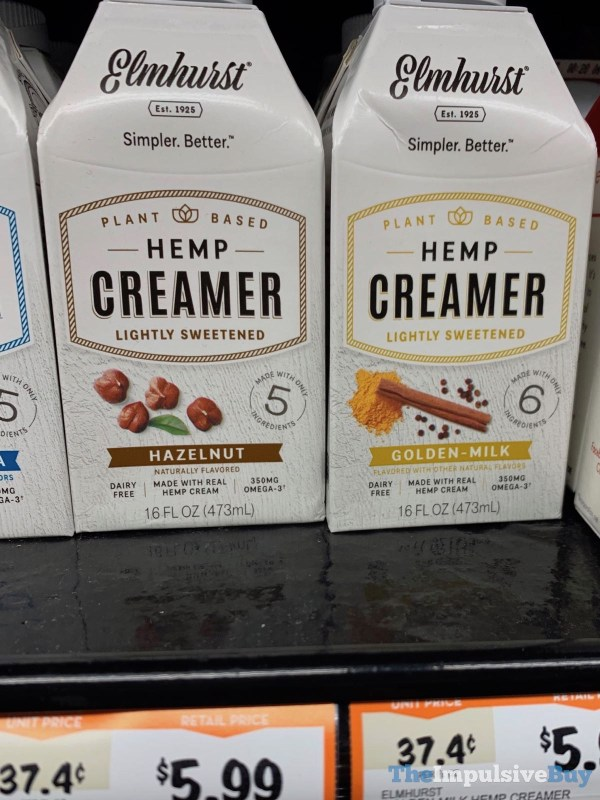 Elmhurst Hazelnut and Golden Milk Hemp Creamer