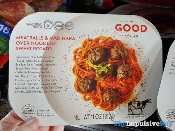 The Good Kitchen Meatball  Marinara Over Noodled Sweet Potato