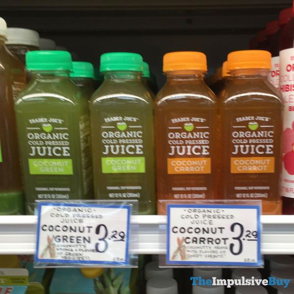 Trader Joe s Coconut Green and Coconut Carrot Organic Cold Pressed Juice