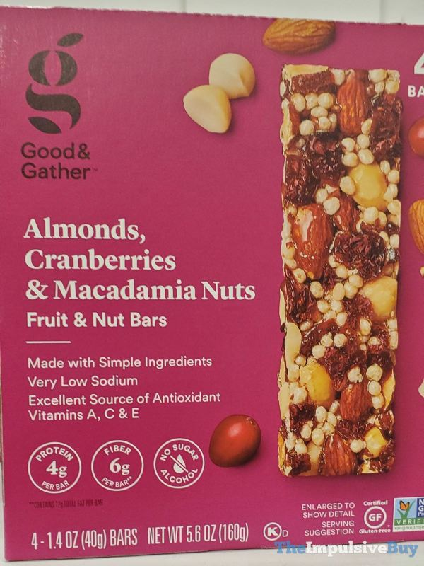 Good  Gather Almonds Cranberries  Macadamia Nuts Fruit  Nut Bars