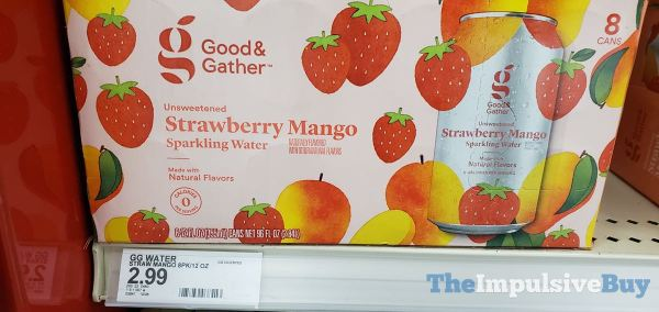 Good  Gather Unsweetened Strawberry Mango Sparkling Water