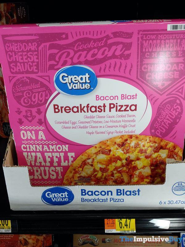 Great Value Bacon Blast Breakfast Pizza on a Cinnamon Waffle Crust