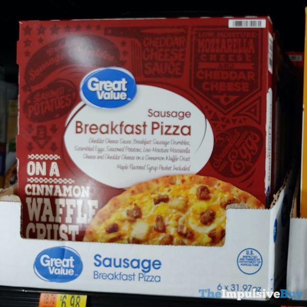 Great Value Sausage Breakfast Pizza on a Cinnamon Waffle Crust
