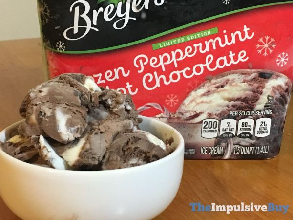 Breyers Limited Edition Frozen Peppermint Hot Chocolate Ice Cream Closeup