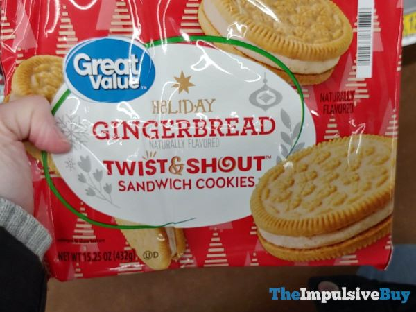 Great Value Holiday Gingerbread Twist  Shout Sandwich Cookies