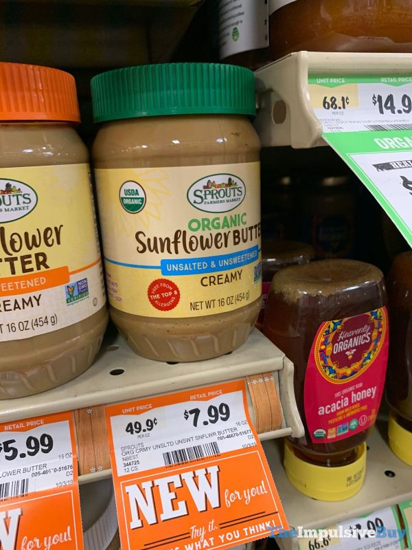 Sprouts Organic Unsalted  Unsweetened Creamy Sunflower Butter