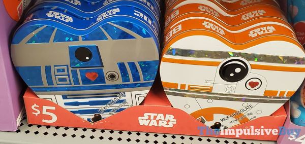 Star Wars R2 D2 and BB 8 Milk Chocolate Heart Boxes