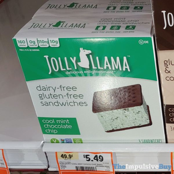 Jolly Llama Cool Mint Chocolate Chip Dairy Free Gluten Free Sandwiches
