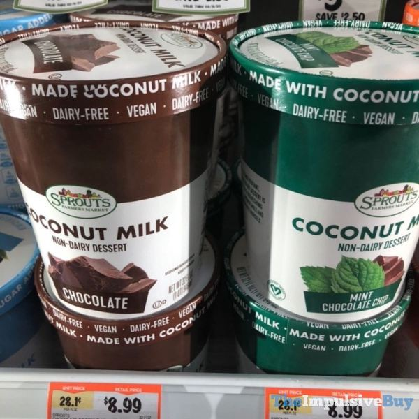 Sprouts Chocolate Coconut Milk Non Dairy Dessert  Chocolate and Mint Chocolate Chip