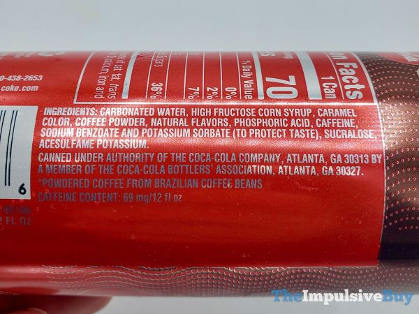 Coca Cola with Coffee  U S Ingredients