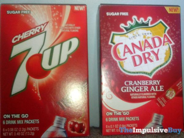 Cherry 7Up and Canada Dry Cranberry Ginger Ale On the Go Drink Mix Packets