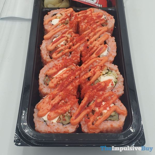 Hissho Sushi Cheetos Flamin Hot Roll Tray Closeup