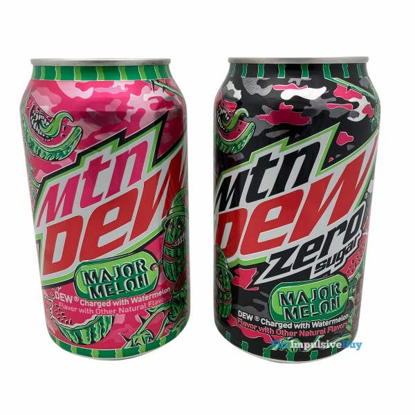 Mtn Dew Major Melon and Zero Sugar Cans
