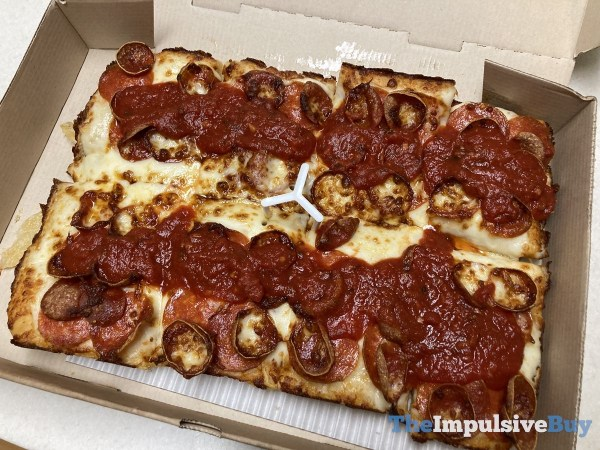 Pizza Hut Detroit Style Double Pepperoni Pizza Whole