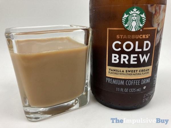 Starbucks Bottled Vanilla Sweet Cream Cold Brew Bottle Closeup