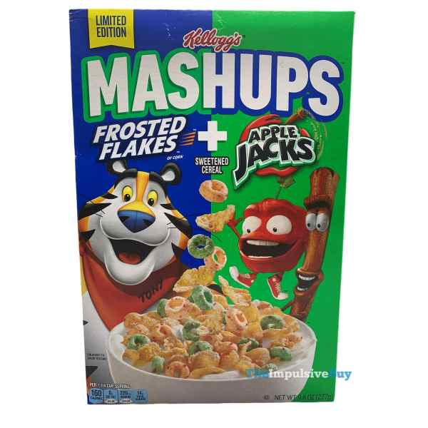 Kellogg s Mashups Frosted Flakes + Apple Jack Cereal Box