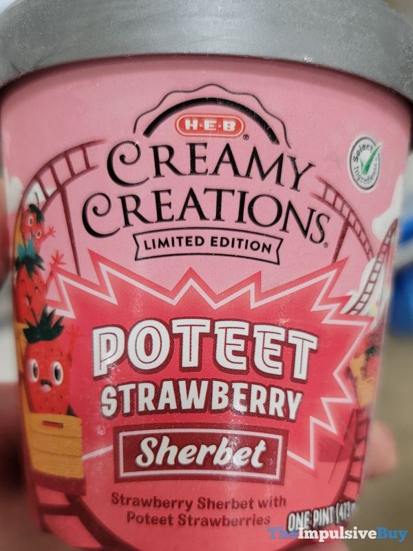 H E B Creamy Creations Limited Edition Poteet Strawberry Sherbet Pint