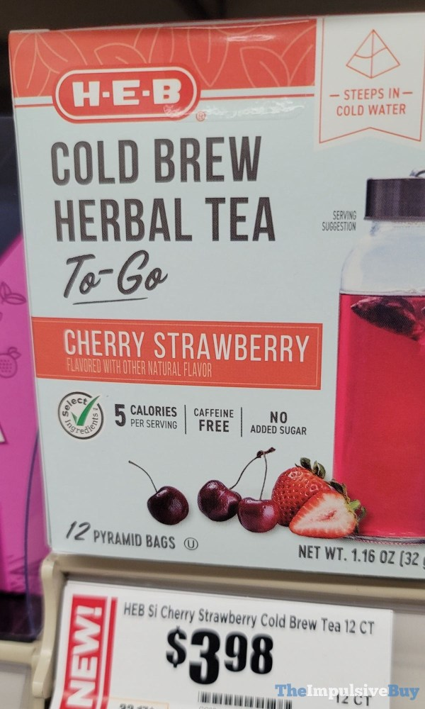 H E B Cherry Strawberry Cold Brew Herbal Tea To Go