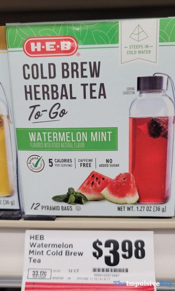 H E B Watermelon Mint Cold Brew Herbal Tea To Go