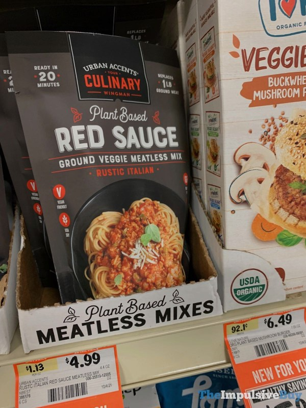 Urban Accents Plant Based Red Sauce Rustic Italian Ground Veggie Meatless Mix