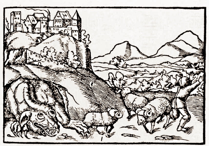 The Wawel Dragon, picture from 1544.