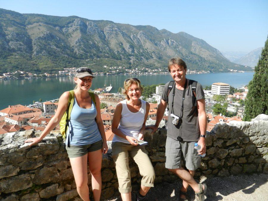 Ashleigh, Elin, and Jesper in Kotor Bay, Montenegro