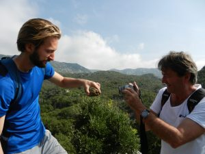 Nathanael, a scared tortoise, and Jesper in Becici, Montenegro