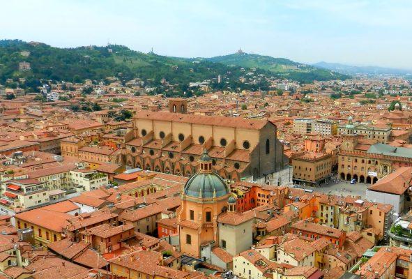 Basilica di san Petronio from tower, Bologna, Italy