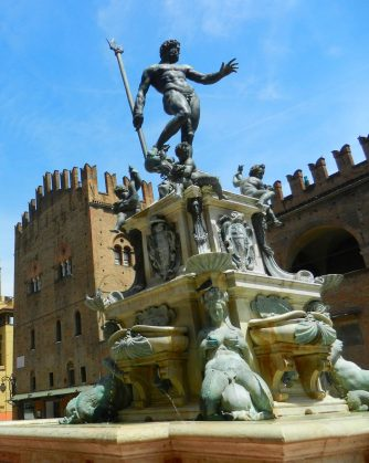 Statue of Neptune in Piazza del Nettuno, just north of Piazza Maggiore.