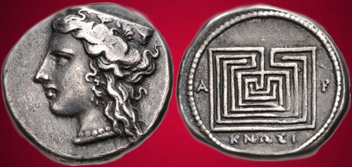 """Knossos, 300-270 BC. Silver Drachma (19mm, 5.41 g). Head of Hera left, wearing ornamented stephanos, triple-pendant earring, and necklace Labyrinth; KNΩΣI(ΩΝ) """"of Knossians"""" below."""
