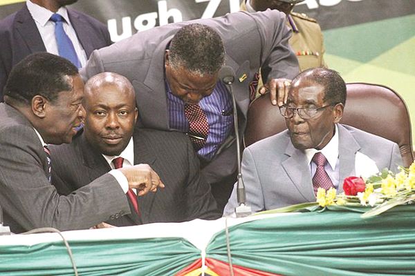 Zanu PF national commissar Saviour Kasukuwere (second from left) dismisses the takeover allegations as false.