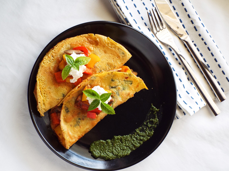 Chickpea Crepes with Italian Vegetables - The India Edition