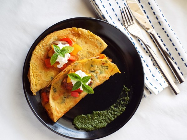 chickpea crepes with italian vegetables gluten free